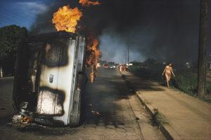 NICARAGUA. Managua. Car of a Somoza informer burning in Managua.