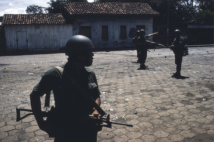 NICARAGUA. Mayasa. 1979. Guard patrol beginning house-to-house search for Sandinistas.