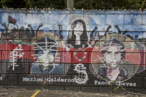 Jinotepe, NIcaragua. FSLN mural celebrating heroism of Arlen Siu defaced.